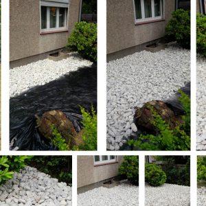 Vorgarten mit hellgrauen Schotter
