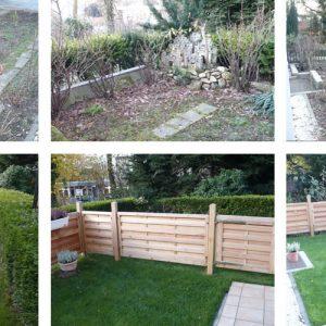 Gartenrekultivierung VORHER und NACHHER mit halben Gartenzaun